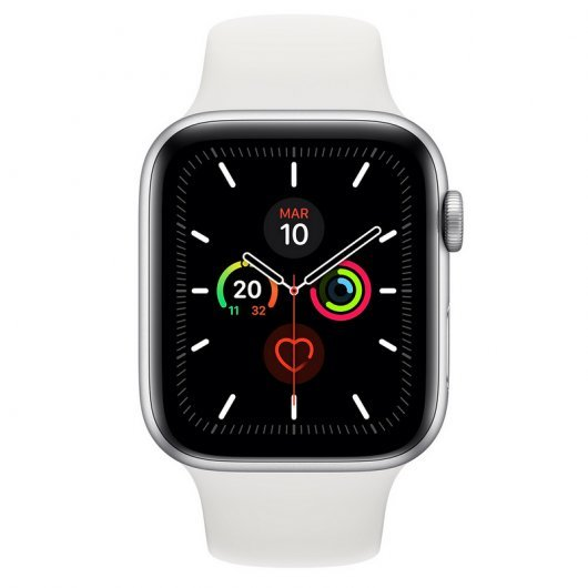 APPLE WATCH SERIES 5 GPS 40MM ALUMINIO PLATA SPORT BAND BLANCA